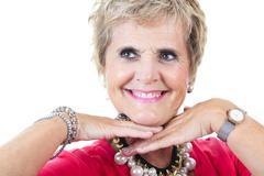 Senior casual woman style portrait, studio shot, isolated on white background Stock Photos