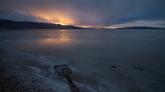 Timelapse at Stansbury Island on the Great Salt Lake at Sunset. Stock Footage
