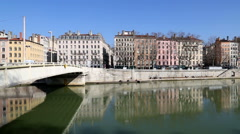 The cityscape of old Lyon as seen from across the Rhone river. - stock footage