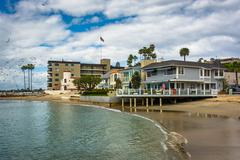 Beachfront houses in Corona del Mar, California. Stock Photos