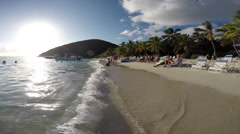 Jost Van Dyke beach at the Soggy Dollar Bar - stock footage