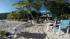 Beach in front of the Soggy Dollar Bar - stock footage