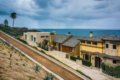 View of houses and the Pacific Ocean in Corona del Mar, California. Stock Photos