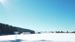 Ride picture of snowy countryside in the mountains Stock Footage