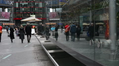 People walking at Sony Center at Berlin Potsdamer Platz Stock Footage