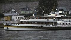 "Rhine 1970s: boat named ""Goethe"" during a cruise on the river Stock Footage"