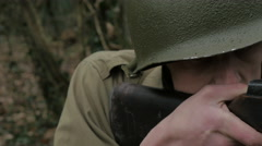 WW2 American infantry  soldier aiming his Grand Rifle - stock footage