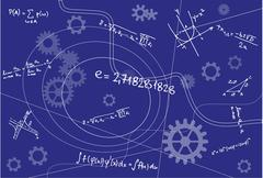 Mathematical Geometry Signs On Blue Background Stock Illustration