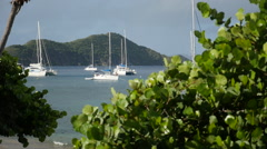 Sailboats anchored off Cooper Island BVI - stock footage
