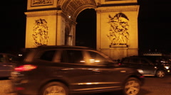 Arc du Triomphe at Night Stock Footage