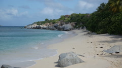Deserted beach, island of Virgin Gorda BVI 1 Stock Footage