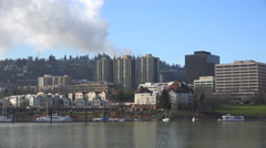 Daytime shot of condos and apartments along the Willamette River in Portland, Stock Footage