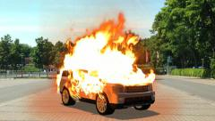 Car in flames - burning car - car on fire Stock Footage