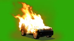 Car in flames - burning car - green screen Stock Footage