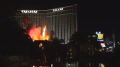 Famous fire show Treasure Island resort Las Vegas landmark entertainment night  Stock Footage