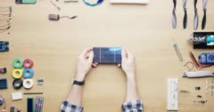 Top view technician man breaking solar panels green energy failure concept from Stock Footage