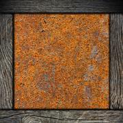 Wood frame with corroded metal background Stock Photos