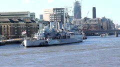 Long Shot of London Museum Ship HMS Belfast United Kingdom Stock Footage