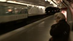 Old Woman Waits for Paris Metro Stock Footage