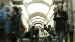 Time-lapse of Crowd at Louvre Museum in Paris Stock Footage