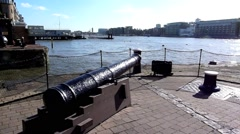 An old cannon at St Katherine's Dock London United Kingdom Stock Footage