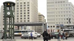 Street life at Berlin Potsdamer Platz Stock Footage
