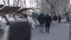Couple Walking by Booksellers on the Seine Stock Footage