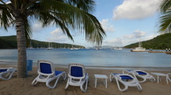 Palm trees on the Beach, sailboats in the Bay, Norman Island BVI Stock Footage