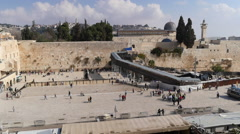 Stock Video Footage of Jerusalem pictures. Wide pan of Golden dome, Al Aqsa Mosque and Wailing wall