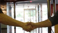 Handshake Bright Doors Corporate Stock Footage