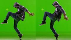 Professional  Hip Hop break dance. Dancing on Green screen. Slow Motion. Stock Footage