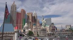 Famous New York resort Liberty Statue Las Vegas Strip landmark day traffic car  Stock Footage