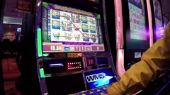 Close up slot machine with wide angle shot Stock Footage