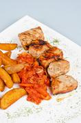Grilled kebab pork meat Stock Photos