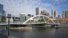 4K Time lapse zoom out Melbourne Seafarers Bridge Yarra River Stock Footage