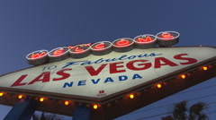 Las Vegas welcome sign american sin city landmark emblem tourism attraction day  Stock Footage