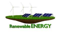 Wind Generators and solar panels - renewable energy Piirros