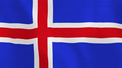 Loopable: Flag of Iceland Stock Footage