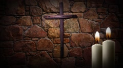 Candle Lite Cross static Stock Footage