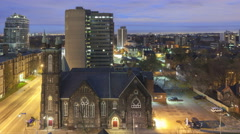 4K Time lapse sunrise Bloor Street United Church Toronto Stock Footage