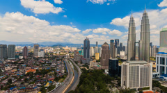 Timelapse of Kuala Lumpur skyline with Petronas Twin Towers - Pan & Zoom Effect Stock Footage