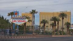 Timelapse traffic street Strip Las Vegas Welcome Sign landmark tourism emblem US Stock Footage