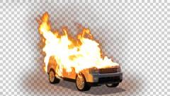 Burning car - car on fire - Pre Keyed with Alpha Channel Stock Footage