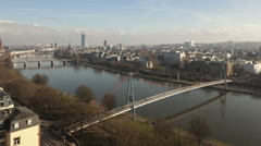 4K Time lapse aerial view Frankfurt river main Stock Footage