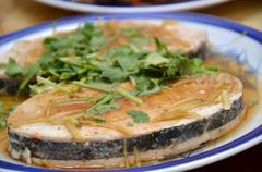 Mock fish made for vegetarian Stock Photos
