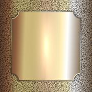Vector precious metal golden plate on stone background Stock Illustration