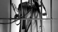 Last Phone Call in Prison (2 of 2) (B/W Version) Stock Footage