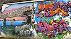 Graffiti Of A Bridge Stock Footage
