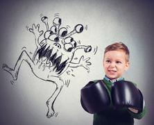 Child faces a virus Stock Photos