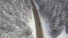 AERIAL: Car driving through snowy pine forest in winter Stock Footage
